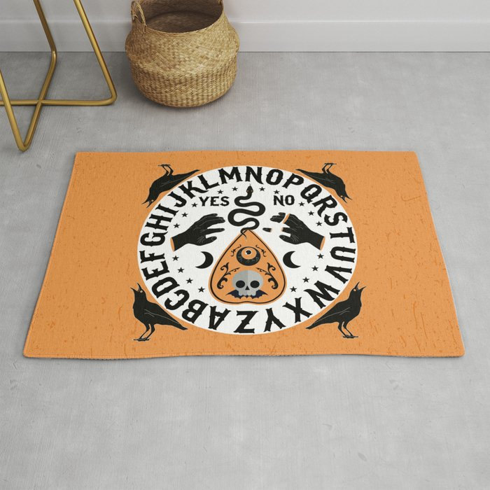 Orange And Black Modern Ouija Board With Ravens Rug By Sunnybunny
