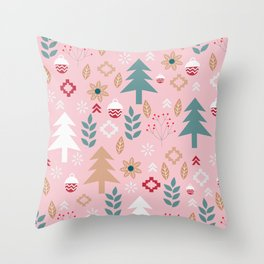 Cute Christmas in pink Throw Pillow