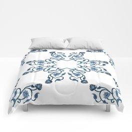 Blue Floral Heart Tile Comforters