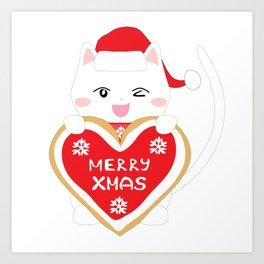 Happy Cat with xmas cookie Art Print