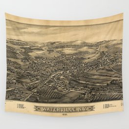 Aerial View of Waterville, New York (1885) Wall Tapestry
