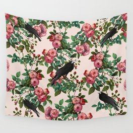 Roses With Crows Pattern Wall Tapestry