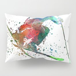woman skier freestyler jumping Pillow Sham