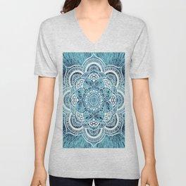 Mandala Aqua Turquoise Colorburst Unisex V-Neck
