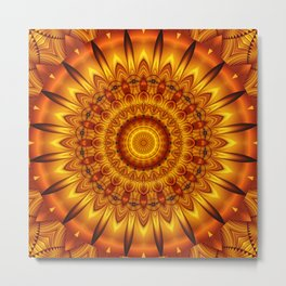 Mandala golden Sun Metal Print