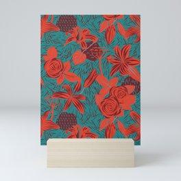 Linocut look in blue with roses Mini Art Print