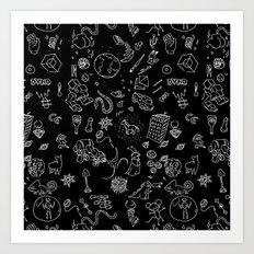 BLACK RANDOM HOPPER - TANUKI - OSCANIMATION Art Print