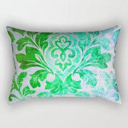 Green Damask Pattern Rectangular Pillow