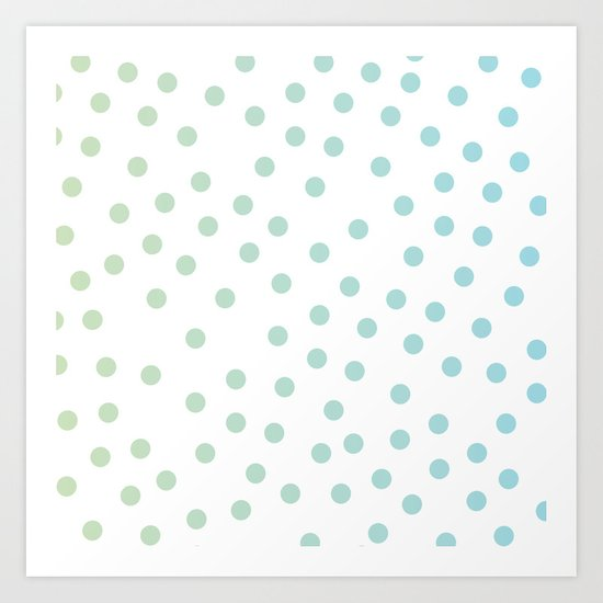 Simply Dots in Turquoise Green Blue Gradient on White Art Print