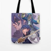 fire emblem awakening Tote Bags featuring Fire Emblem Awakening by Kelly Kao
