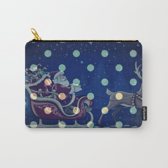 Santa Claus riding his sleigh on a snowy blue Christmas Eve Carry-All Pouch