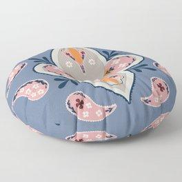 Paisley Pattern Grey Pink Floor Pillow