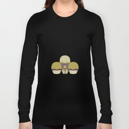 Cute Monster With Yellow And Purple Frosted Cupcakes Long Sleeve T-shirt