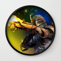 boba Wall Clocks featuring Boba Fett by Vincent Vernacatola