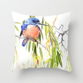 KIngfisher and Weeping Willow Throw Pillow