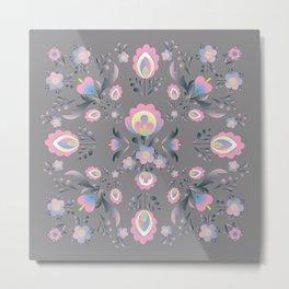 Folk Flowers in Pink and Grey Metal Print