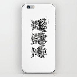 Zentangle Triptych Owl Fineliner Pen Drawing iPhone Skin
