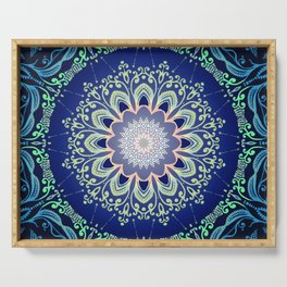 blue flowers mandala Serving Tray
