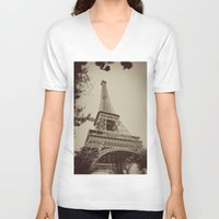 eiffel tower V-neck T-shirts featuring Eiffel Tower by AngelicaRoesler