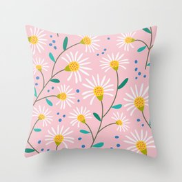 White Little Spring Flowers Throw Pillow