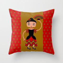 Spanish Flamengo Dancer Throw Pillow