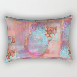 The Owl and the Calico Cat pink Rectangular Pillow