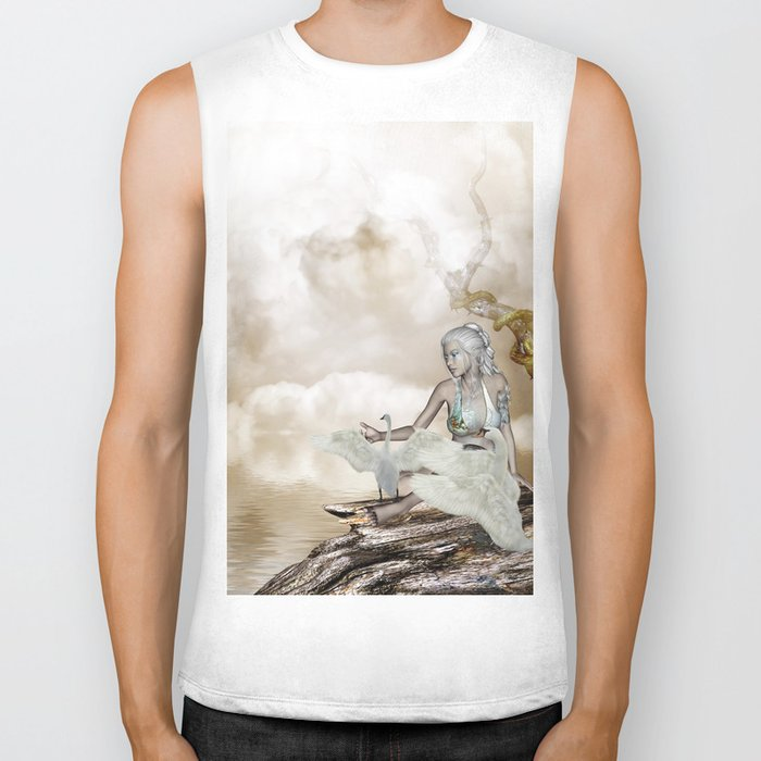 Fairy and the swan Biker Tank