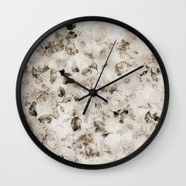 Vintage shabby elegant white gray roses floral Wall Clock