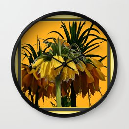 GOLDEN YELLOW CROWN IMPERIAL  FLOWERS Wall Clock