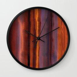 Wildfire Watercolor Stripe Wall Clock