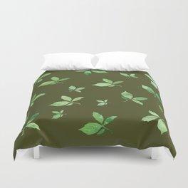 Green Autumm Leaves Duvet Cover
