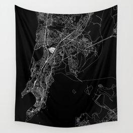 Mumbai Black Map Wall Tapestry