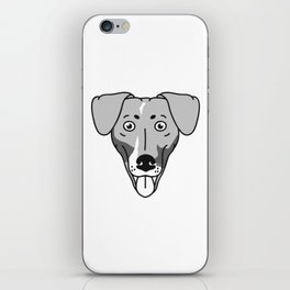 Dachshund Mix Dog Portrait -Custom Request, Black Palette iPhone Skin
