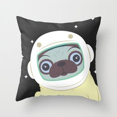 Pug in Space Throw Pillow