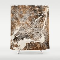 montreal Shower Curtains featuring Montreal by Map Map Maps
