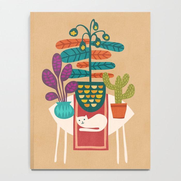 Indoor garden with cat Notebook