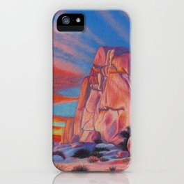 Glowing Joshua Tree sunset as the climbing day draws to a close iPhone Case