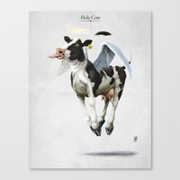 atheist Canvas Prints featuring Holy Cow by rob art | illustration