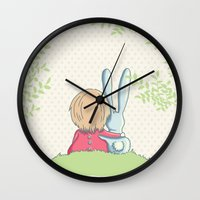 best friends Wall Clocks featuring Best friends by Rabbits In The Sky