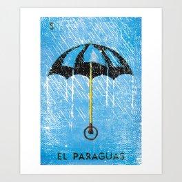 El Paraguas Mexican Loteria Bingo Card Art Print