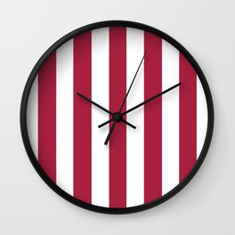 Deep carmine red - solid color - white vertical lines pattern Wall Clock