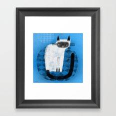 SIAMESE ON BLUE Framed Art Print