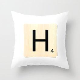 Scrabble H Throw Pillow