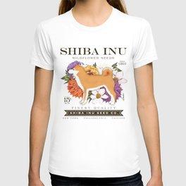 Shiba Inu Seed Company wildflower seed artwork by Stephen Fowler T-shirt