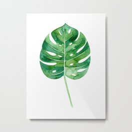 Philodendron Leaf Watercolor Metal Print