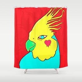 Heart Cockatiel Shower Curtain