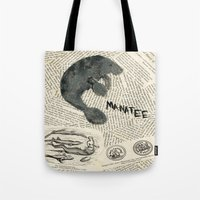manatee Tote Bags featuring Manatee by Cassidy Tebeau