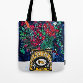 Wild Flowers in Golden Syrup Tin on Blue Tote Bag
