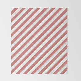 Camellia Pink and White Candy Cane Stripes Throw Blanket
