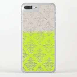 Layers Damask Lime Clear iPhone Case